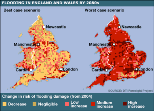 flooding in england wales by 2080s